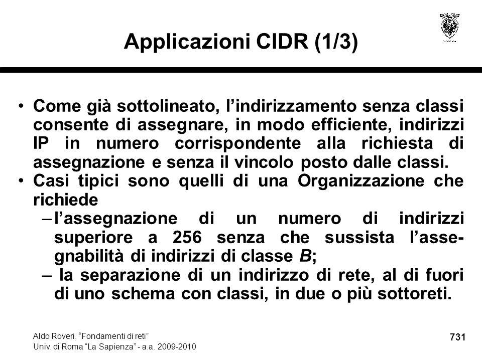 731 Aldo Roveri, Fondamenti di reti Univ. di Roma La Sapienza - a.a.