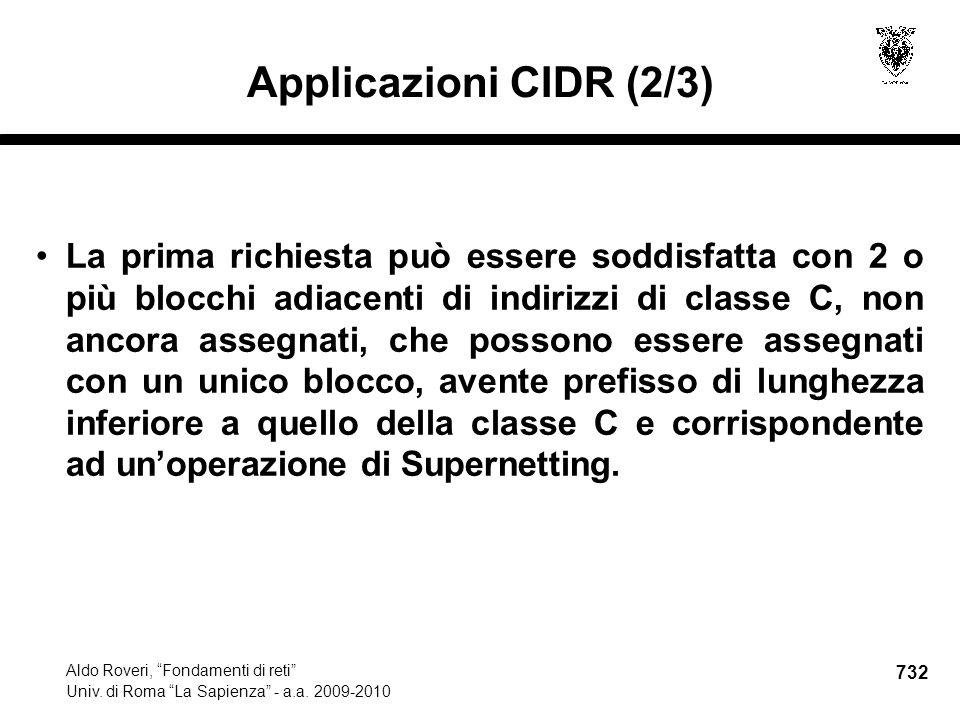 732 Aldo Roveri, Fondamenti di reti Univ. di Roma La Sapienza - a.a.