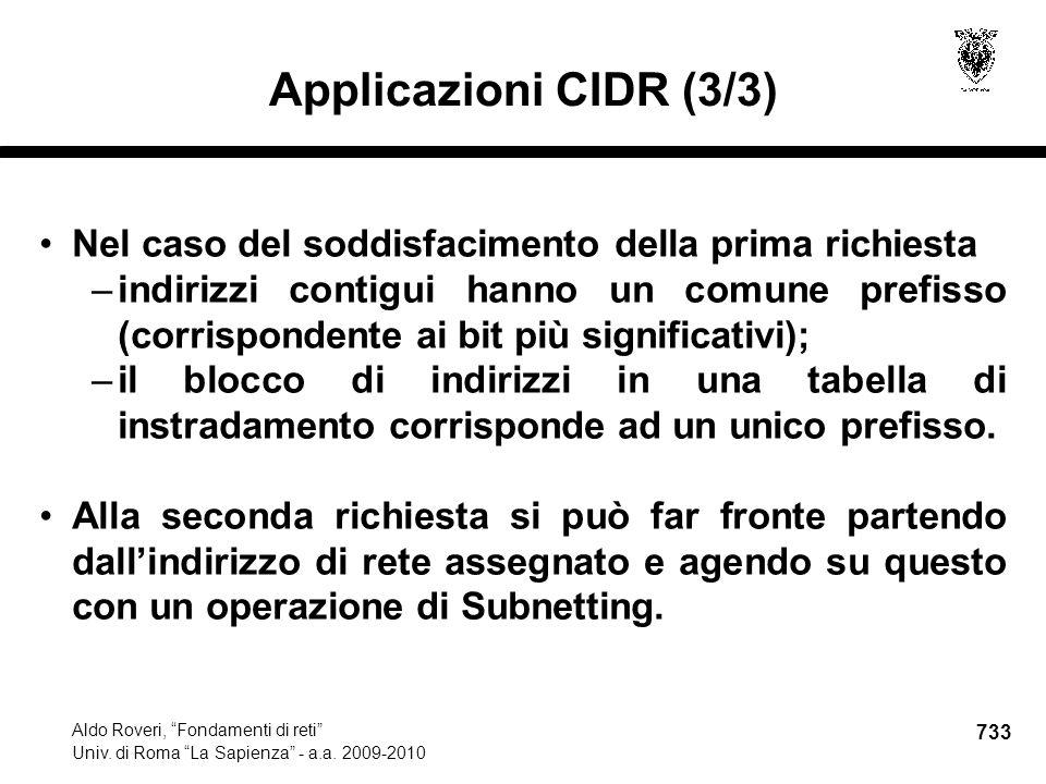 733 Aldo Roveri, Fondamenti di reti Univ. di Roma La Sapienza - a.a.