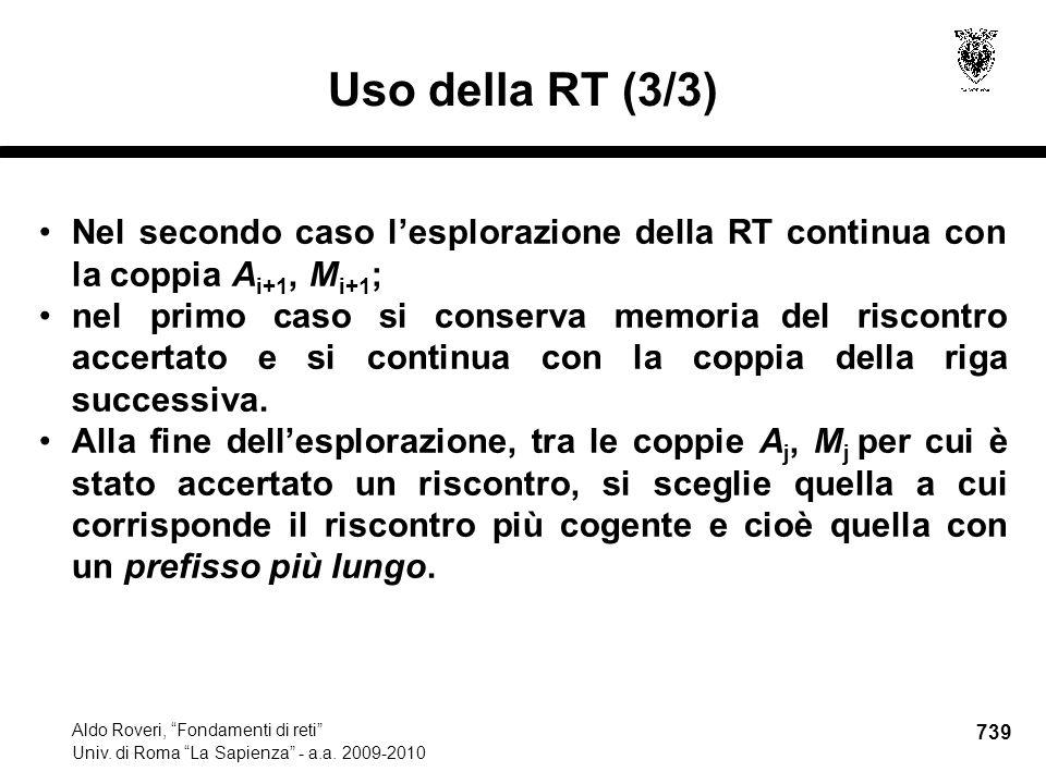739 Aldo Roveri, Fondamenti di reti Univ. di Roma La Sapienza - a.a.