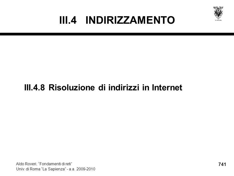 741 Aldo Roveri, Fondamenti di reti Univ. di Roma La Sapienza - a.a.