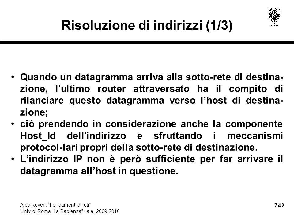 742 Aldo Roveri, Fondamenti di reti Univ. di Roma La Sapienza - a.a.