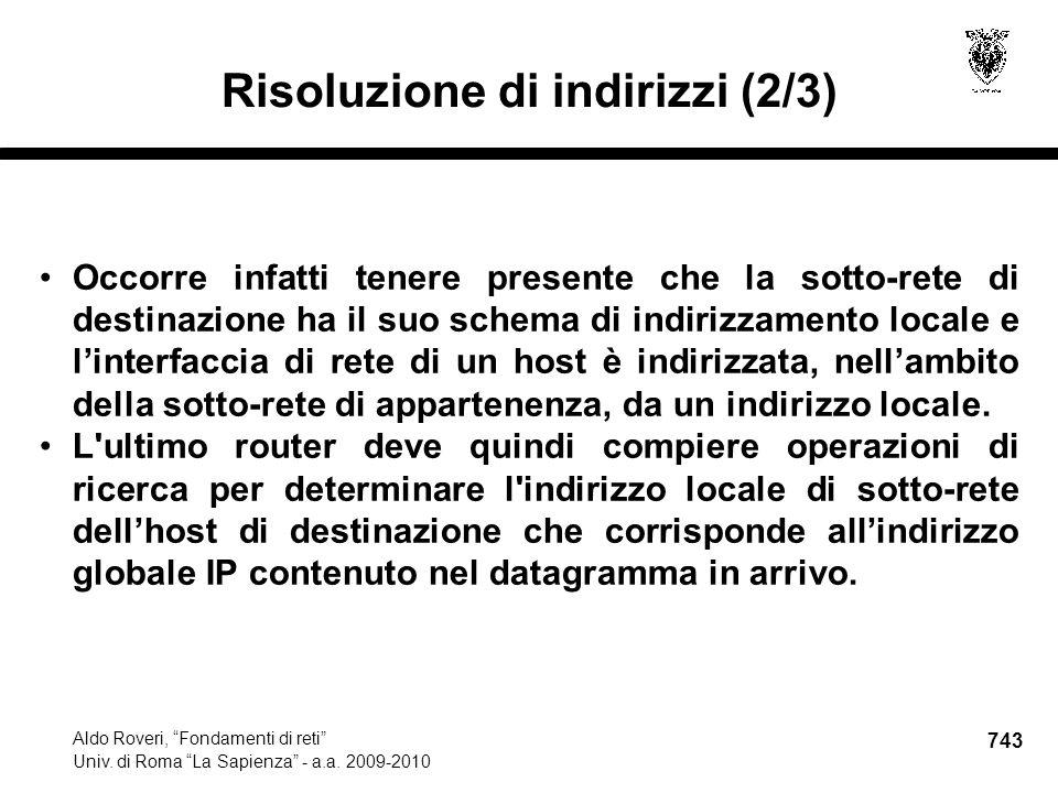743 Aldo Roveri, Fondamenti di reti Univ. di Roma La Sapienza - a.a.