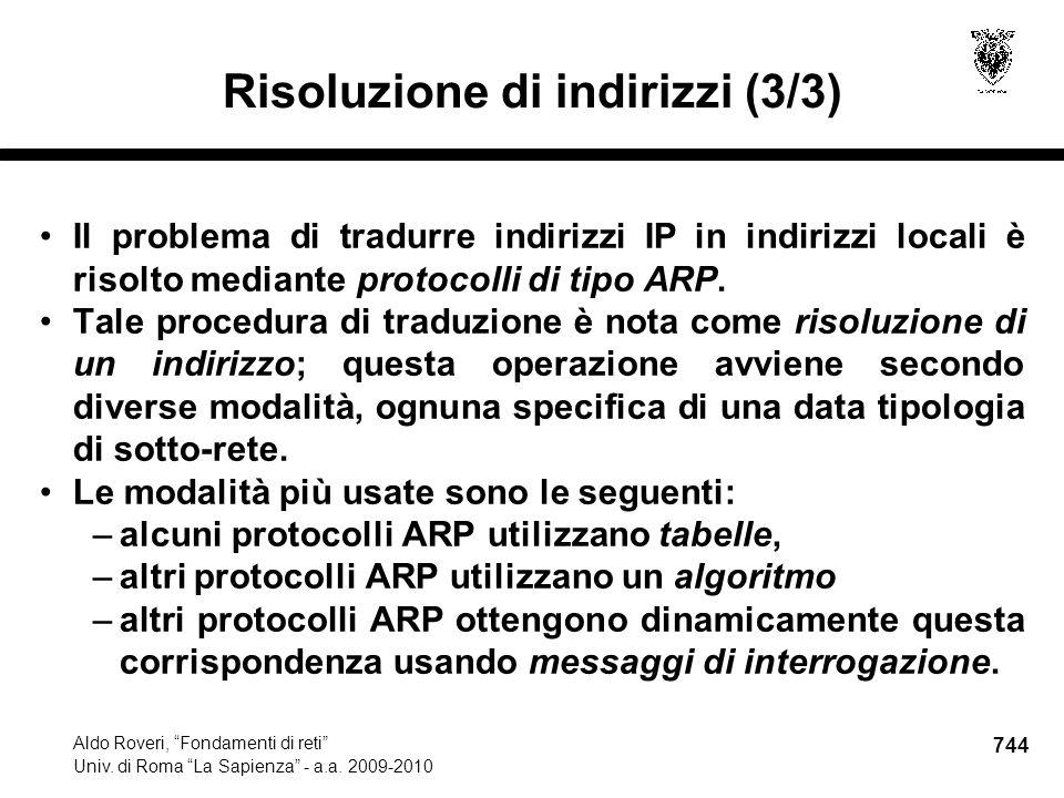 744 Aldo Roveri, Fondamenti di reti Univ. di Roma La Sapienza - a.a.