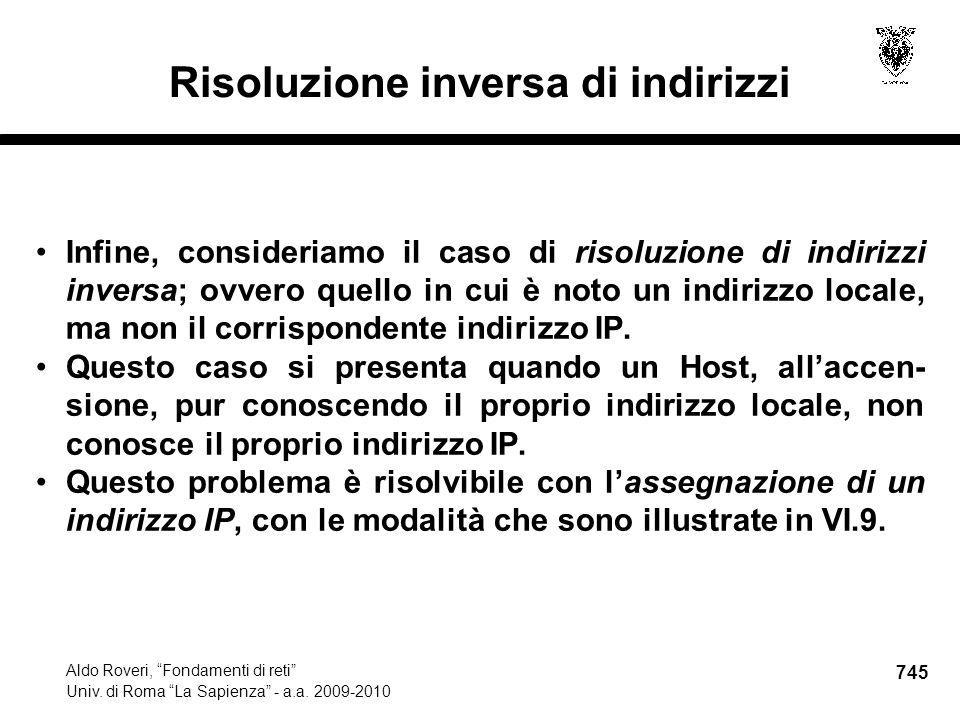 745 Aldo Roveri, Fondamenti di reti Univ. di Roma La Sapienza - a.a.