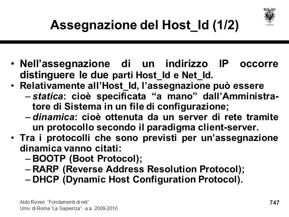 747 Aldo Roveri, Fondamenti di reti Univ. di Roma La Sapienza - a.a.