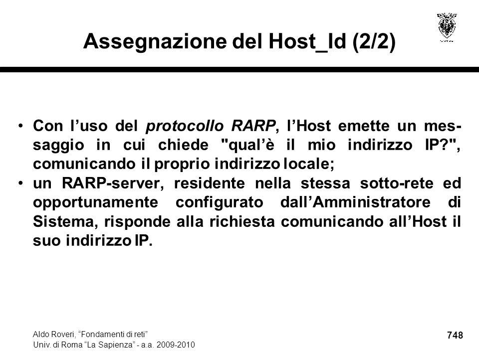 748 Aldo Roveri, Fondamenti di reti Univ. di Roma La Sapienza - a.a.