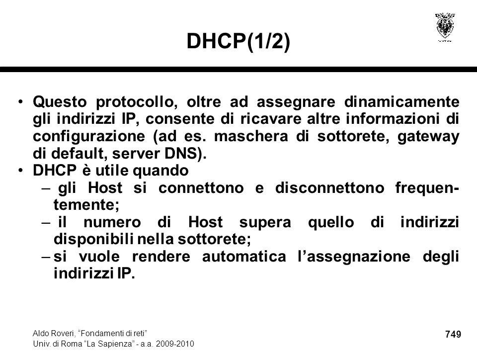 749 Aldo Roveri, Fondamenti di reti Univ. di Roma La Sapienza - a.a.