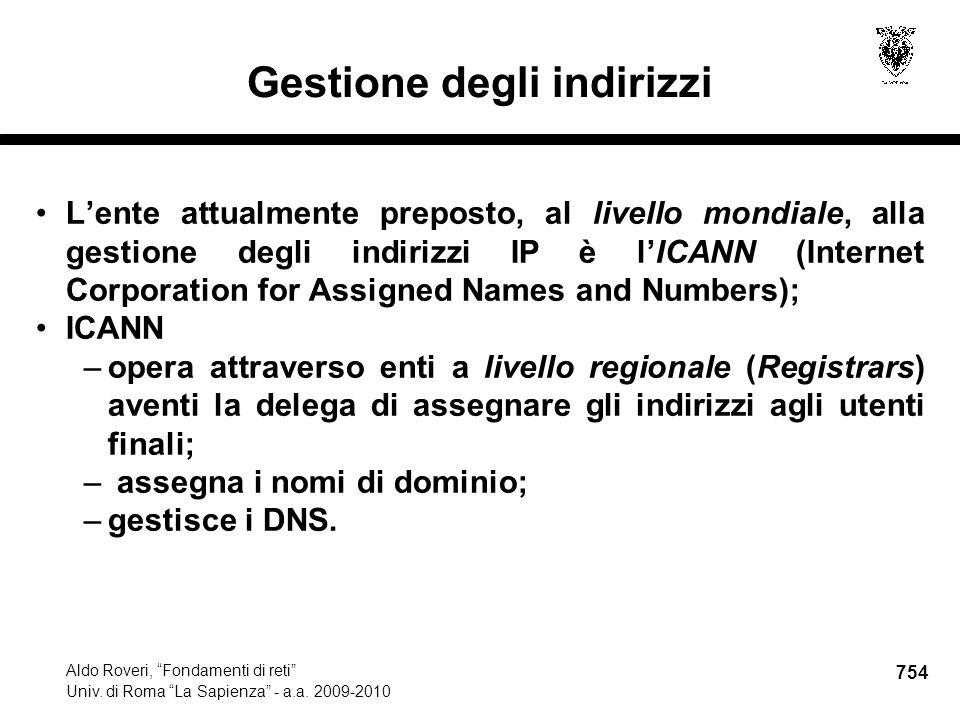 754 Aldo Roveri, Fondamenti di reti Univ. di Roma La Sapienza - a.a.