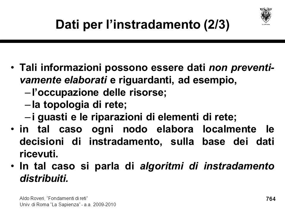 764 Aldo Roveri, Fondamenti di reti Univ. di Roma La Sapienza - a.a.