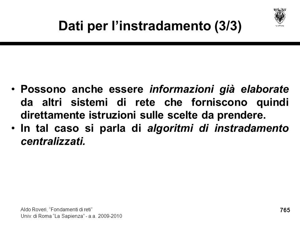 765 Aldo Roveri, Fondamenti di reti Univ. di Roma La Sapienza - a.a.