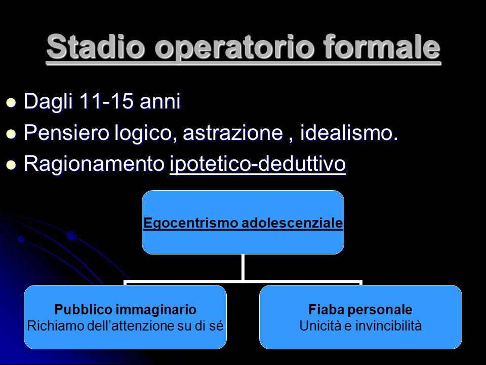 Stadio operatorio formale Dagli 11-15 anni Dagli 11-15 anni Pensiero logico, astrazione, idealismo. Pensiero logico, astrazione, idealismo. Ragionamen