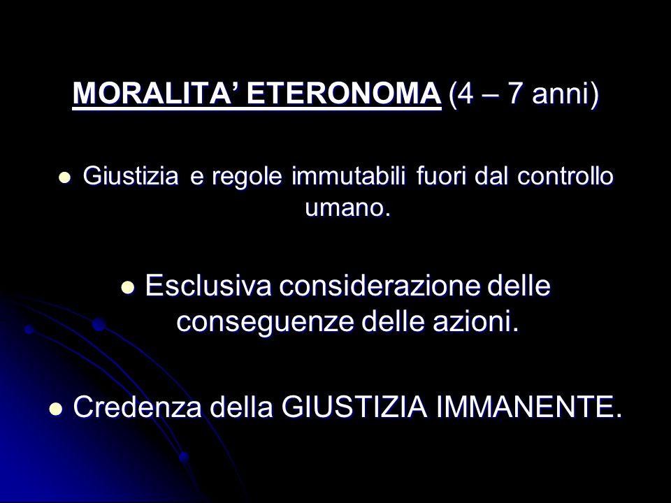 MORALITA' ETERONOMA (4 – 7 anni) Giustizia e regole immutabili fuori dal controllo umano.