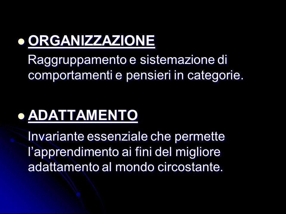 ORGANIZZAZIONE ORGANIZZAZIONE Raggruppamento e sistemazione di comportamenti e pensieri in categorie. Raggruppamento e sistemazione di comportamenti e