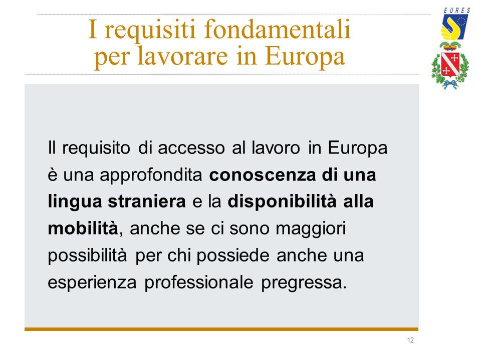 12 I requisiti fondamentali per lavorare in Europa Il requisito di accesso al lavoro in Europa è una approfondita conoscenza di una lingua straniera e