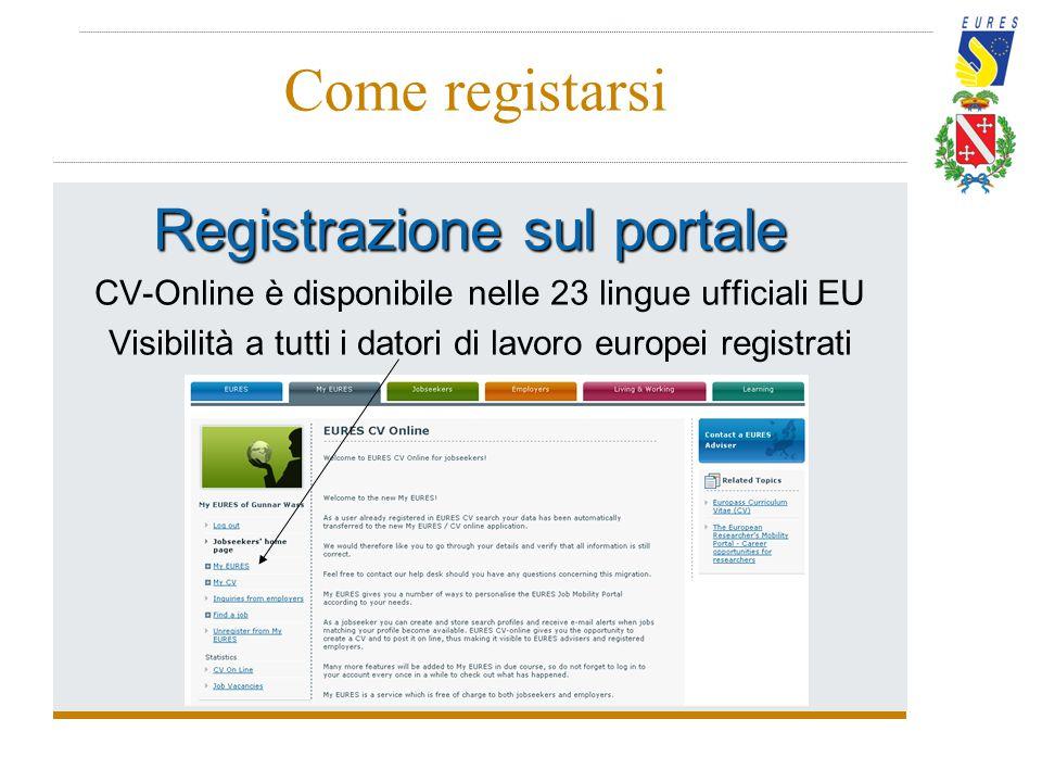 Come registarsi Registrazione sul portale CV-Online è disponibile nelle 23 lingue ufficiali EU Visibilità a tutti i datori di lavoro europei registrat