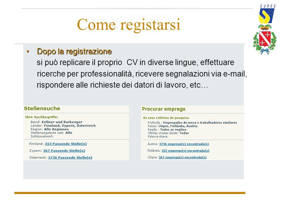 Come registarsi Dopo la registrazioneDopo la registrazione si può replicare il proprio CV in diverse lingue, effettuare ricerche per professionalità,