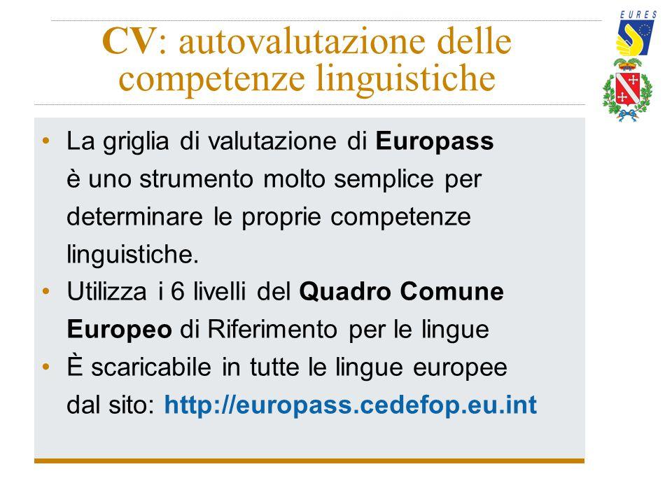 CV: autovalutazione delle competenze linguistiche La griglia di valutazione di Europass è uno strumento molto semplice per determinare le proprie comp