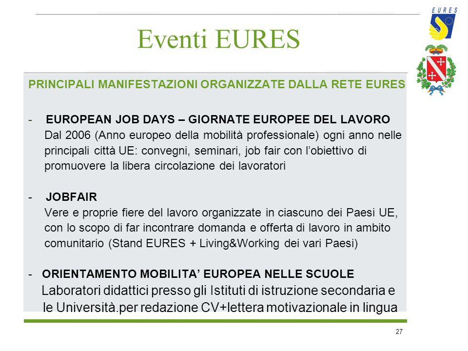 27 Eventi EURES PRINCIPALI MANIFESTAZIONI ORGANIZZATE DALLA RETE EURES -EUROPEAN JOB DAYS – GIORNATE EUROPEE DEL LAVORO Dal 2006 (Anno europeo della m