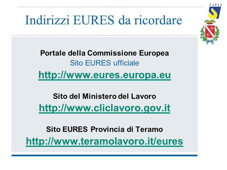 Indirizzi EURES da ricordare Portale della Commissione Europea Sito EURES ufficiale http://www.eures.europa.eu Sito del Ministero del Lavoro http://ww