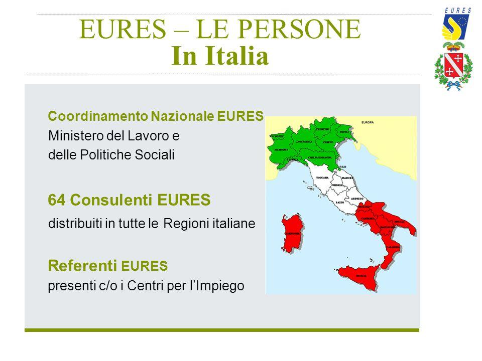 EURES – LE PERSONE In Italia Coordinamento Nazionale EURES Ministero del Lavoro e delle Politiche Sociali 64 Consulenti EURES distribuiti in tutte le