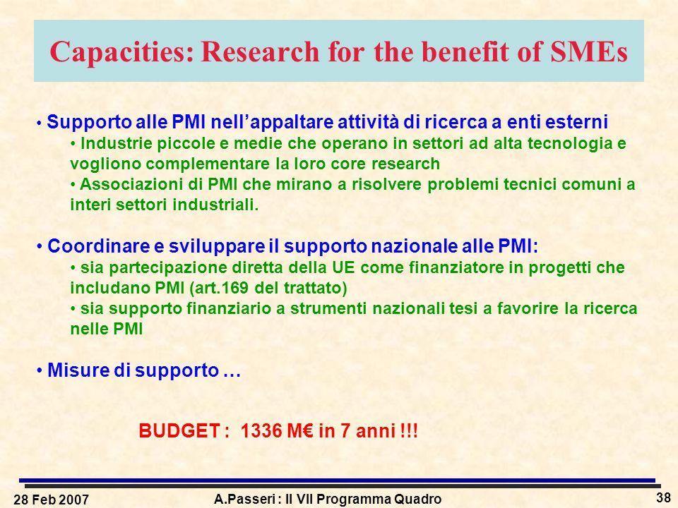 28 Feb 2007 A.Passeri : Il VII Programma Quadro 38 Capacities: Research for the benefit of SMEs Supporto alle PMI nell'appaltare attività di ricerca a