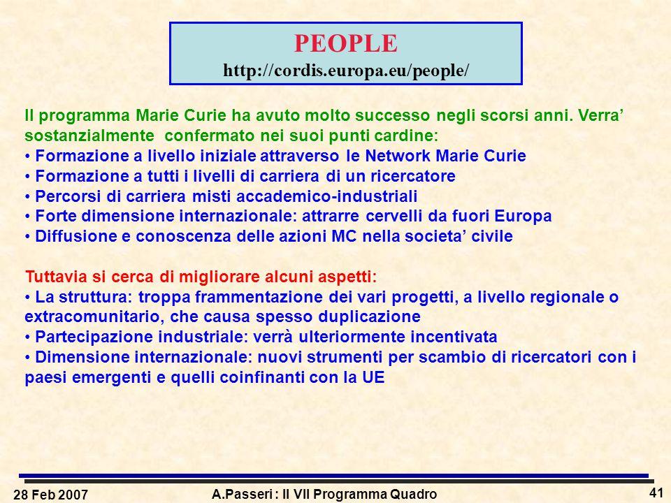 28 Feb 2007 A.Passeri : Il VII Programma Quadro 41 PEOPLE http://cordis.europa.eu/people/ Il programma Marie Curie ha avuto molto successo negli scors