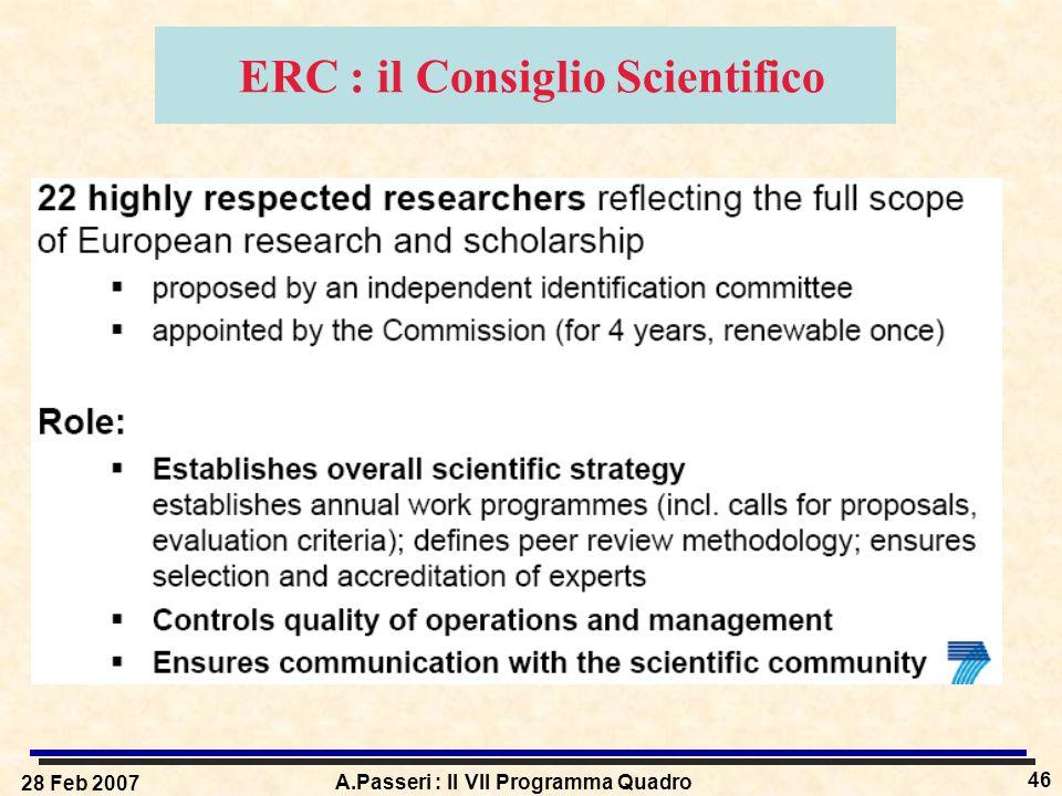 28 Feb 2007 A.Passeri : Il VII Programma Quadro 46 ERC : il Consiglio Scientifico