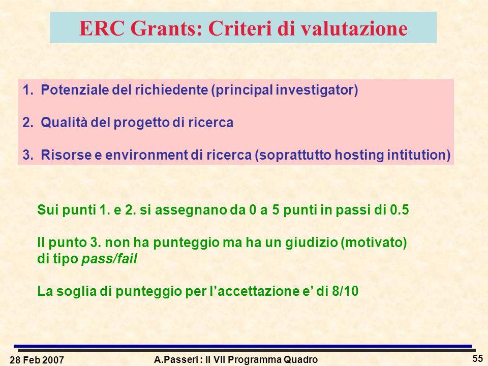 28 Feb 2007 A.Passeri : Il VII Programma Quadro 55 ERC Grants: Criteri di valutazione 1.Potenziale del richiedente (principal investigator) 2.Qualità