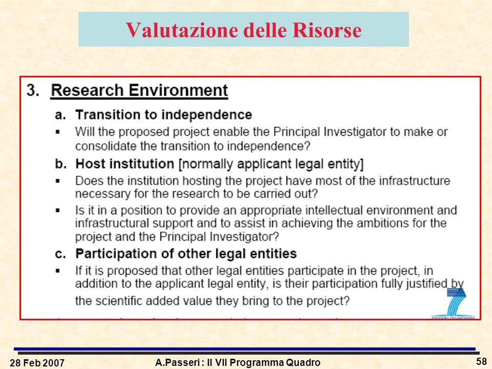 28 Feb 2007 A.Passeri : Il VII Programma Quadro 58 Valutazione delle Risorse