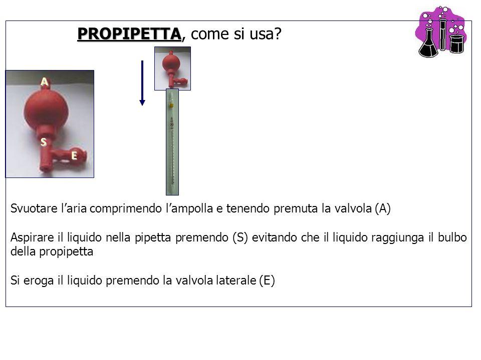 A E S PROPIPETTA PROPIPETTA, come si usa? Svuotare l'aria comprimendo l'ampolla e tenendo premuta la valvola (A) Aspirare il liquido nella pipetta pre