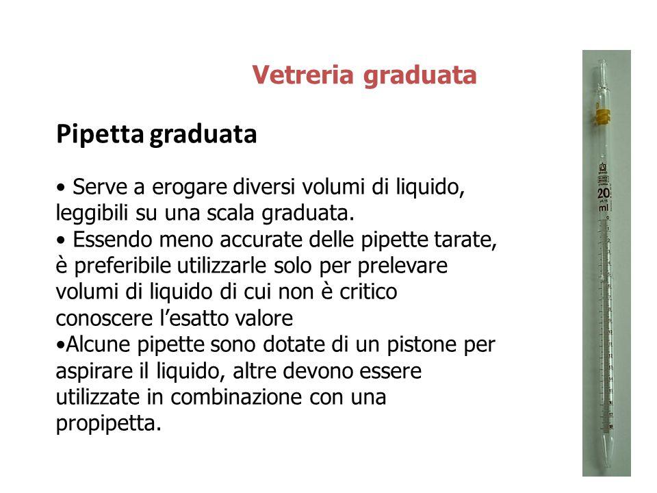 Pipetta graduata Vetreria graduata Serve a erogare diversi volumi di liquido, leggibili su una scala graduata. Essendo meno accurate delle pipette tar