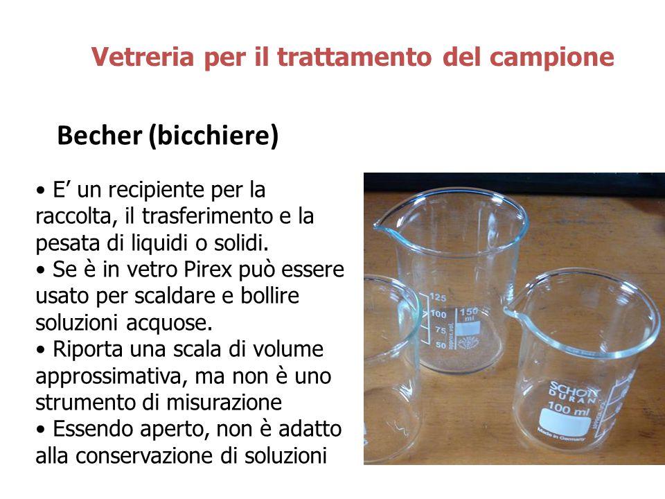 Becher (bicchiere) Vetreria per il trattamento del campione E' un recipiente per la raccolta, il trasferimento e la pesata di liquidi o solidi. Se è i