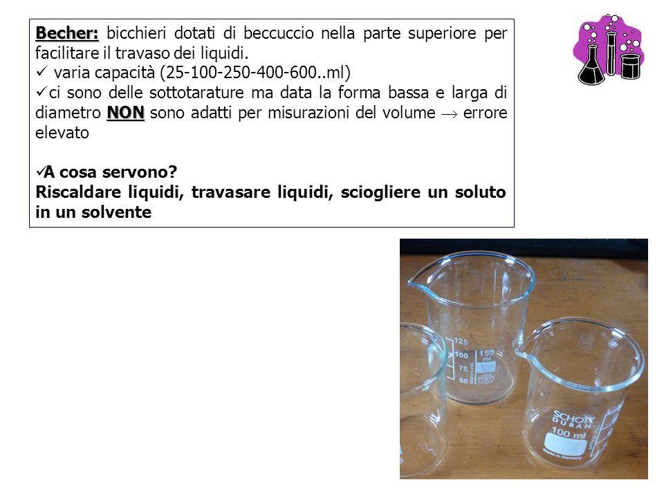 3 Becher: Becher: bicchieri dotati di beccuccio nella parte superiore per facilitare il travaso dei liquidi. varia capacità (25-100-250-400-600..ml) N