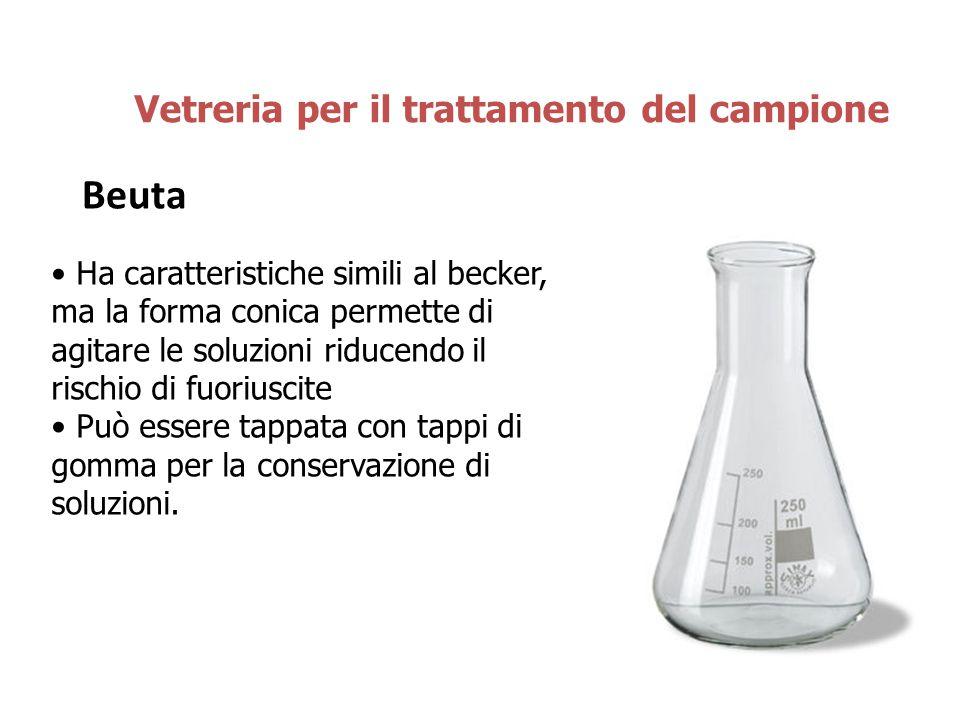 Beuta Vetreria per il trattamento del campione Ha caratteristiche simili al becker, ma la forma conica permette di agitare le soluzioni riducendo il r