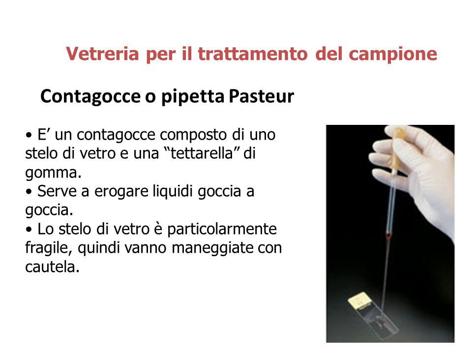 """Contagocce o pipetta Pasteur Vetreria per il trattamento del campione E' un contagocce composto di uno stelo di vetro e una """"tettarella"""" di gomma. Ser"""