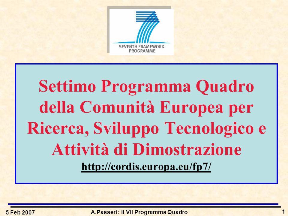 5 Feb 2007 A.Passeri : Il VII Programma Quadro 1 Settimo Programma Quadro della Comunità Europea per Ricerca, Sviluppo Tecnologico e Attività di Dimostrazione http://cordis.europa.eu/fp7/