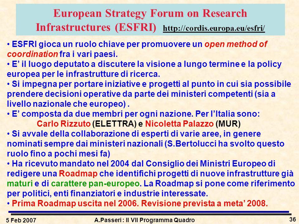 5 Feb 2007 A.Passeri : Il VII Programma Quadro 36 European Strategy Forum on Research Infrastructures (ESFRI) http://cordis.europa.eu/esfri/ ESFRI gioca un ruolo chiave per promuovere un open method of coordination fra i vari paesi.