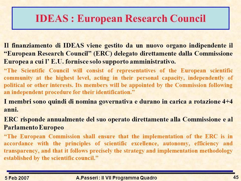 5 Feb 2007 A.Passeri : Il VII Programma Quadro 45 IDEAS : European Research Council Il finanziamento di IDEAS viene gestito da un nuovo organo indipendente il European Research Council (ERC) delegato direttamente dalla Commissione Europea a cui l' E.U.