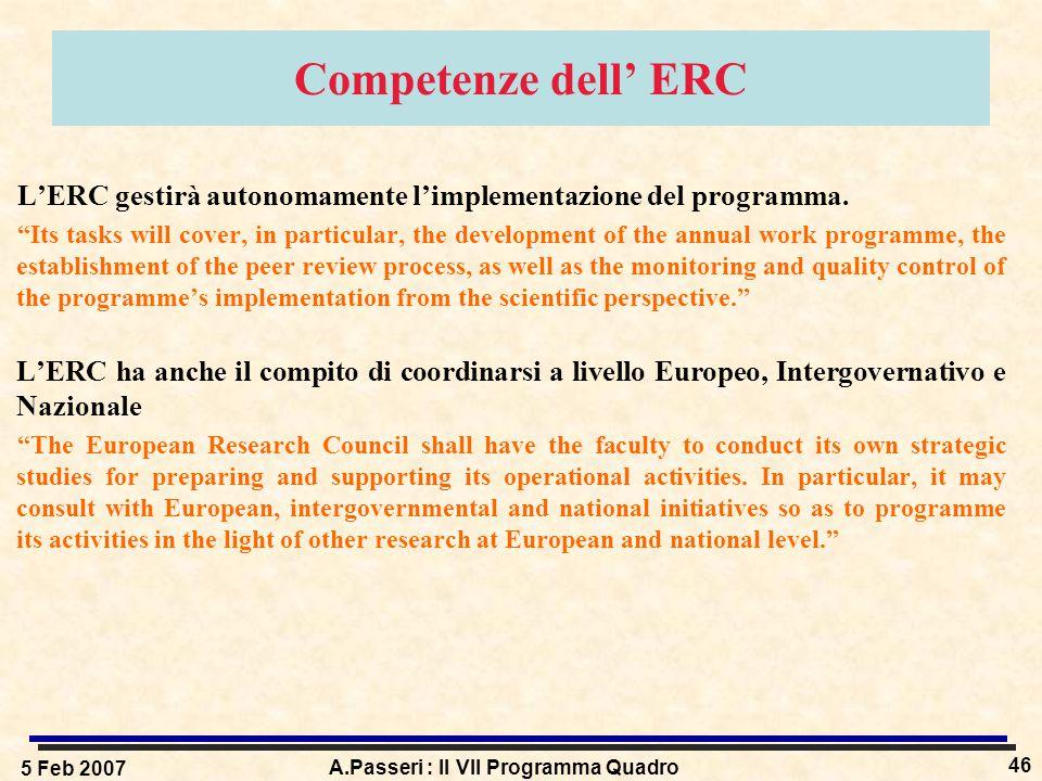 5 Feb 2007 A.Passeri : Il VII Programma Quadro 46 Competenze dell' ERC L'ERC gestirà autonomamente l'implementazione del programma.