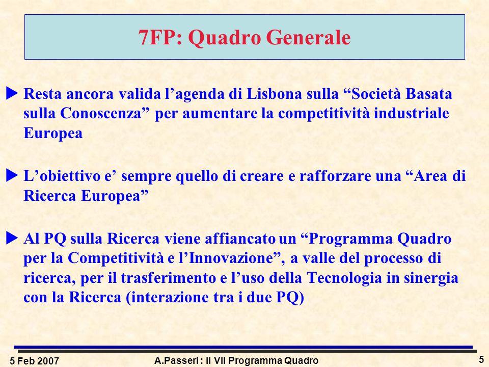 5 Feb 2007 A.Passeri : Il VII Programma Quadro 5 7FP: Quadro Generale  Resta ancora valida l'agenda di Lisbona sulla Società Basata sulla Conoscenza per aumentare la competitività industriale Europea  L'obiettivo e' sempre quello di creare e rafforzare una Area di Ricerca Europea  Al PQ sulla Ricerca viene affiancato un Programma Quadro per la Competitività e l'Innovazione , a valle del processo di ricerca, per il trasferimento e l'uso della Tecnologia in sinergia con la Ricerca (interazione tra i due PQ)