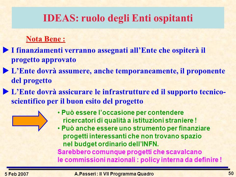 5 Feb 2007 A.Passeri : Il VII Programma Quadro 50 IDEAS: ruolo degli Enti ospitanti Nota Bene :  I finanziamenti verranno assegnati all'Ente che ospi