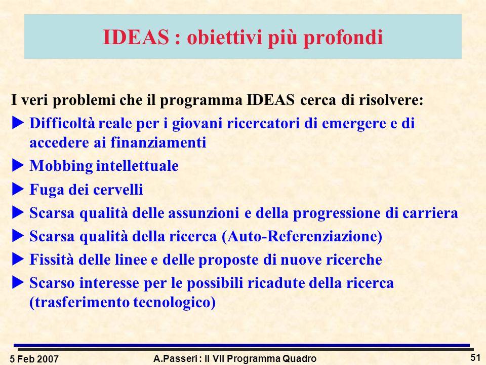 5 Feb 2007 A.Passeri : Il VII Programma Quadro 51 IDEAS : obiettivi più profondi I veri problemi che il programma IDEAS cerca di risolvere:  Difficol