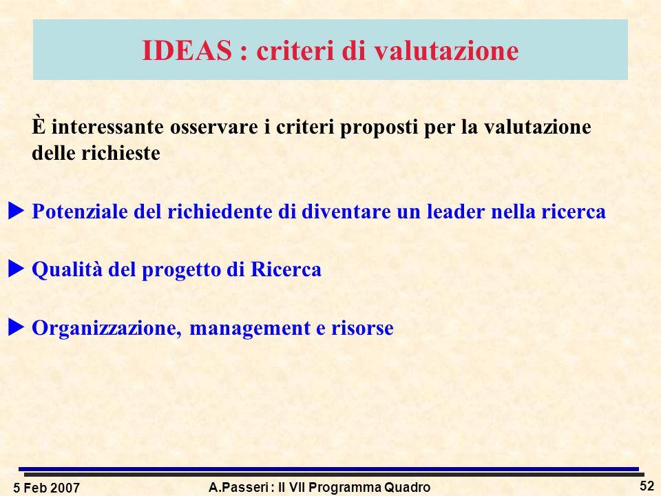 5 Feb 2007 A.Passeri : Il VII Programma Quadro 52 IDEAS : criteri di valutazione È interessante osservare i criteri proposti per la valutazione delle richieste  Potenziale del richiedente di diventare un leader nella ricerca  Qualità del progetto di Ricerca  Organizzazione, management e risorse