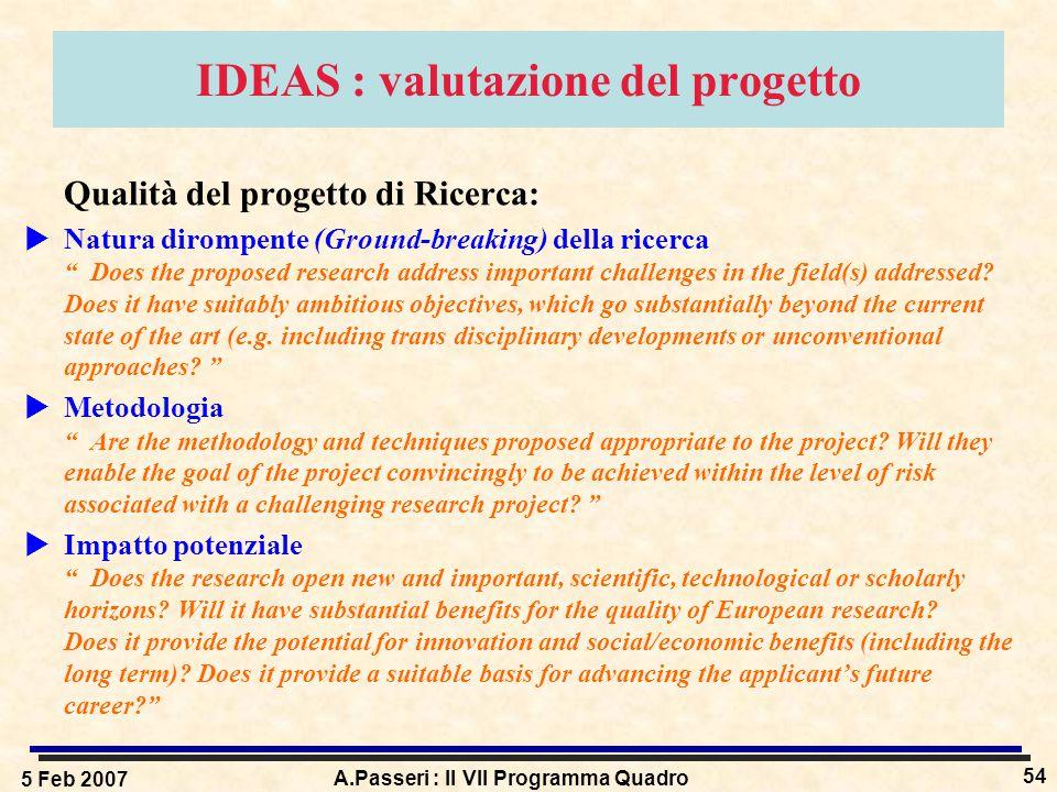 5 Feb 2007 A.Passeri : Il VII Programma Quadro 54 IDEAS : valutazione del progetto Qualità del progetto di Ricerca:  Natura dirompente (Ground-breaking) della ricerca Does the proposed research address important challenges in the field(s) addressed.