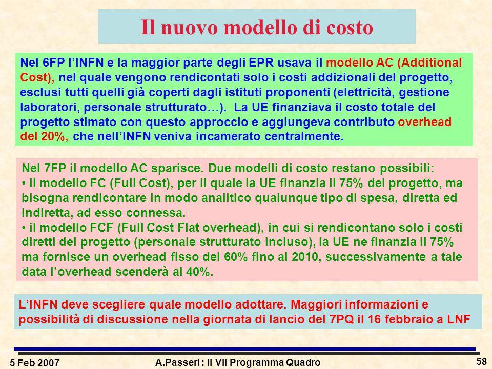 5 Feb 2007 A.Passeri : Il VII Programma Quadro 58 Il nuovo modello di costo Nel 6FP l'INFN e la maggior parte degli EPR usava il modello AC (Additional Cost), nel quale vengono rendicontati solo i costi addizionali del progetto, esclusi tutti quelli già coperti dagli istituti proponenti (elettricità, gestione laboratori, personale strutturato…).