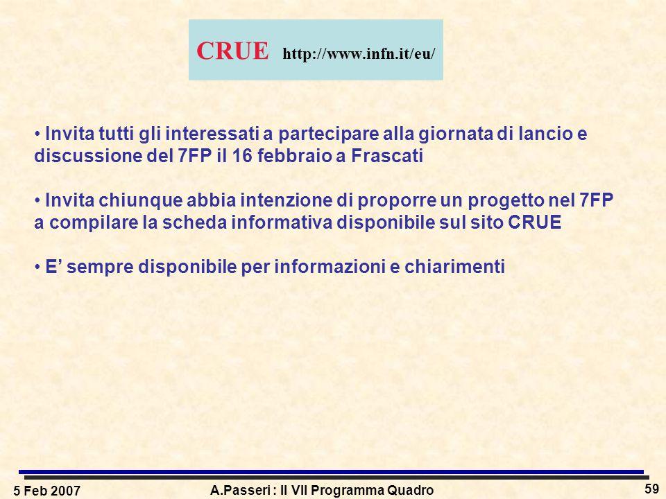 5 Feb 2007 A.Passeri : Il VII Programma Quadro 59 CRUE http://www.infn.it/eu/ Invita tutti gli interessati a partecipare alla giornata di lancio e dis