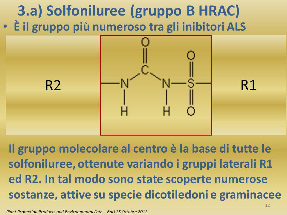 3.a) Solfoniluree (gruppo B HRAC) È il gruppo più numeroso tra gli inibitori ALS R2 R1 Il gruppo molecolare al centro è la base di tutte le solfonilur