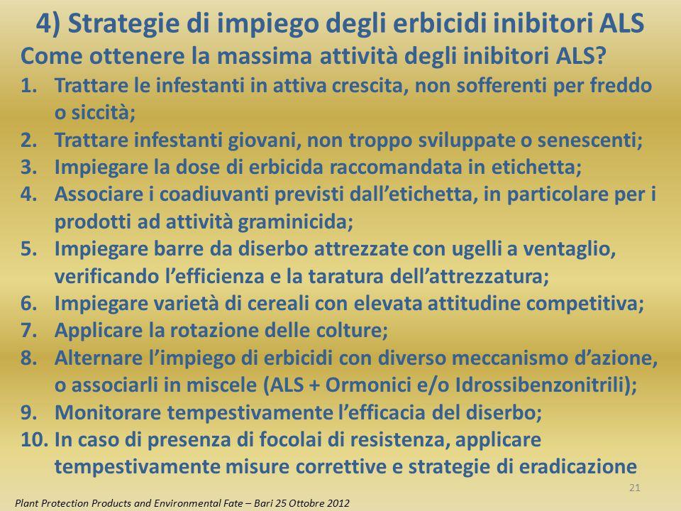 4) Strategie di impiego degli erbicidi inibitori ALS Plant Protection Products and Environmental Fate – Bari 25 Ottobre 2012 Come ottenere la massima