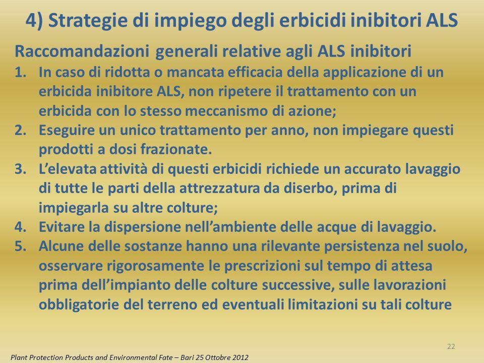 4) Strategie di impiego degli erbicidi inibitori ALS Plant Protection Products and Environmental Fate – Bari 25 Ottobre 2012 Raccomandazioni generali